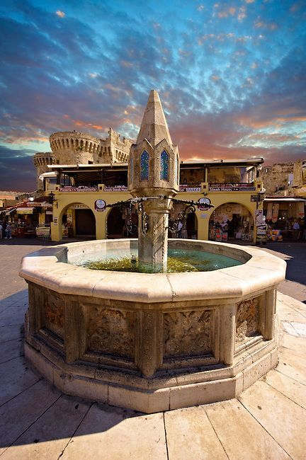 Fountain in Hippocrates Square, Rhodes, Greece, UNESCO World Heritage Site