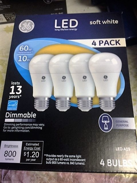 4 Pack Ge Led 60w 10 W Soft White 60 Watt Equivalent A19 2700k Light Bulbs Ge Ge Led Light Bulbs Bulb