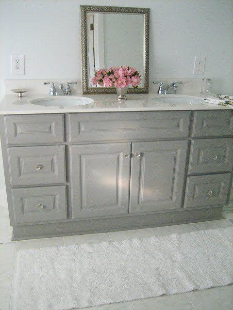 Diy custom gray painted bathroom vanity from a builder for Diy vanity cabinet