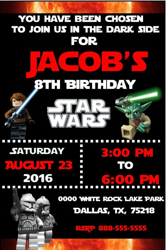 Lego star wars birthday invitation invitacion de cumpleaos 6th lego star wars birthday invitation invitacion de cumpleaos 6th birthday pinterest lego star wars invitaciones de cumpleaos y de cumpleaos filmwisefo Images