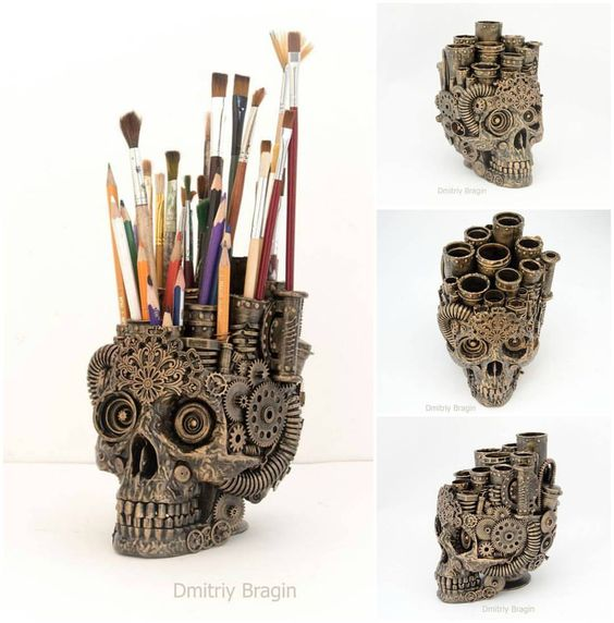 Skull Organiser by Dmitriy Bragin #steampunktendencies #steampunk #skull…