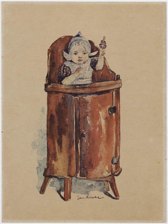 meisje in Volendammer kleding in kinderstoel 1880-1922  Rinke, Jan Frederik #NoordHolland #Volendam
