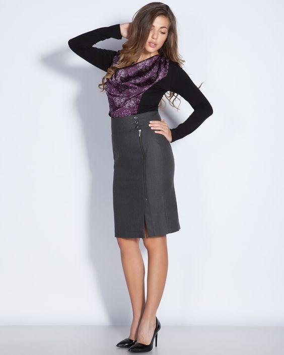 Пола с висока талия в сиво - Manana #Efrea #Ефреа #online #онлайн #пазаруване #дрехи