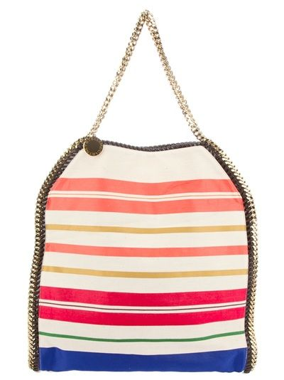Nude and multicolour tote bag from Stella McCartney featuring a striped design, gold-tone chain top handles, gold-tone chain detailing, a poppa fastening, an internal zip fastening pocket and fully lined.