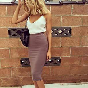 White tank top with long brown pencil skirt. | Brown and white ...