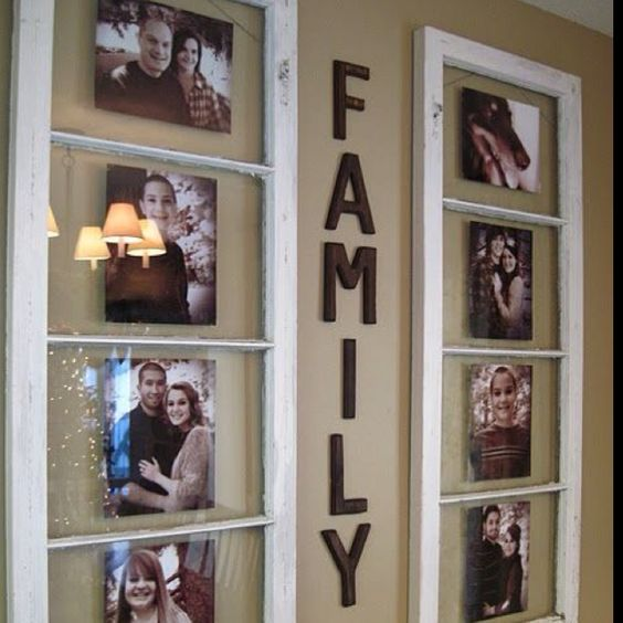 Old window frame used as picture frames, lovely.