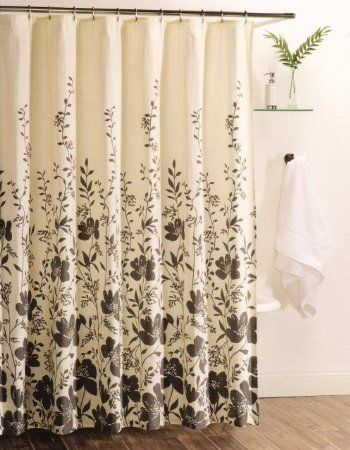 Botanical Nature 100 Cotton Shower Curtain Floral Branches Design Charcoal Grey Ivory 72 By 72