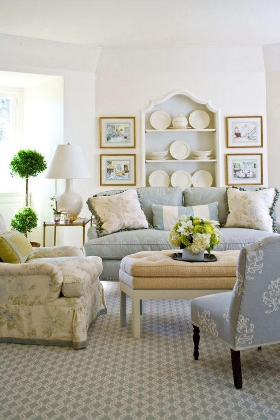 Living room with soft blue grey and cream and built in shelves. Beautiful Classically Refined Rooms on Hello Lovely Studio.