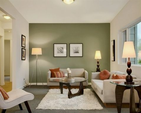 Accent Walls In Living Room, What Colour Curtains With Sage Green Walls