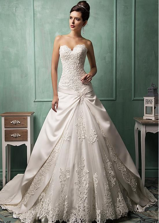 Gorgeous Satin Tulle Sweetheart Neckline Dropped Waistline A Line Wedding Dress With Beaded Appliques