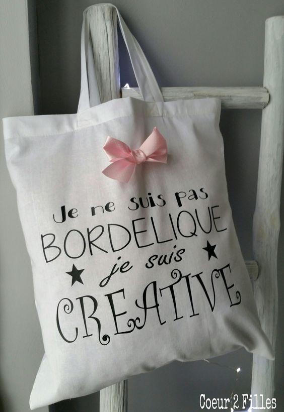 """Tote bag spécial copine """"bordélique"""" ! : Autres sacs par coeur-2-filles:"""