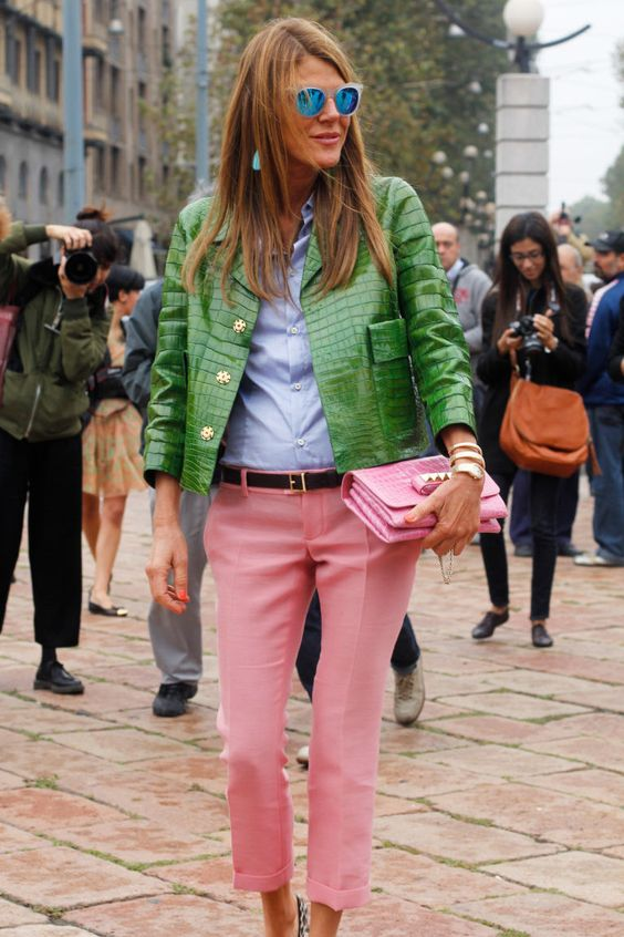 Stylish Italian magazine editor Anna Dello Russo is a fan of wearing pink and green together.: