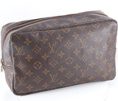 Authentic Louis Vuitton Monogram Trousse Toilette 28 Cosmetic Bag Pouch M47522