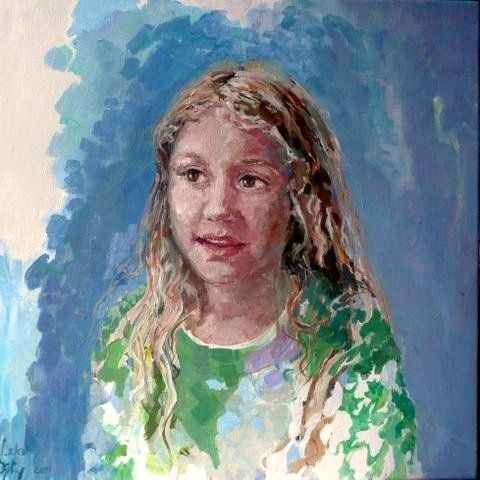 Het is een en face portret van een meisje hij heeft vooral de verf gedept portret - Verf een ingang en een gang ...