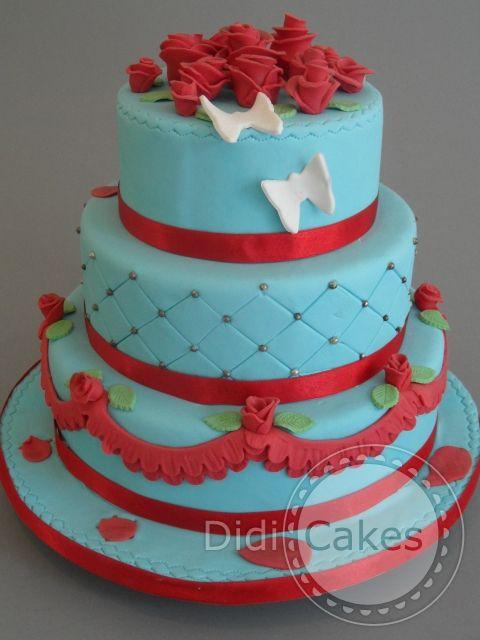 Something red, something blue...  weddingcake