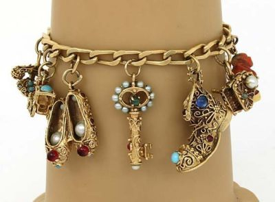 Vintage Gold and Jewelled Charm Bracelet: