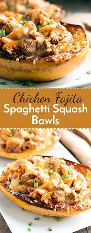 Chicken Fajita Spaghetti Squash Bowls | A healthy, low-carb, gluten free…