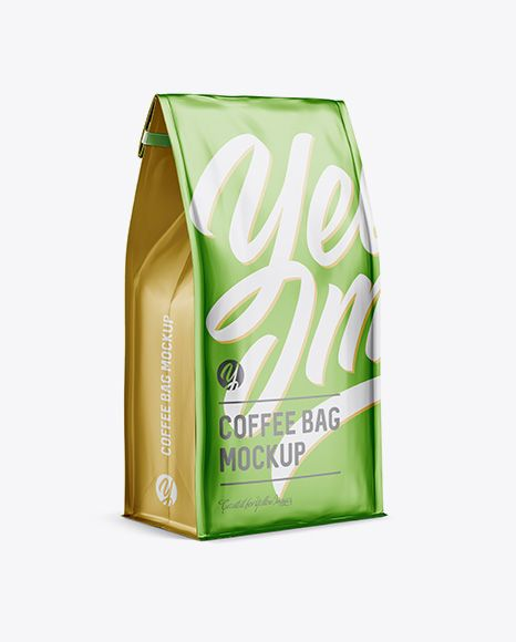 Download Matte Metallic Coffee Bag W A Tin Tie Mockup Halfside View In Pouch Mockups On Yellow Images Object Mockups Free Psd Mockups Templates Free Packaging Mockup Psd Mockup Template