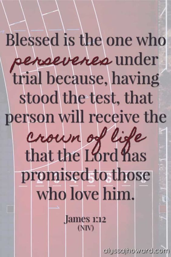 Blessed is the one who perseveres under trial because, having stood the test, that person will receive the crown of life that the Lord has promised to those who love him. - James 1:12 (NIV)