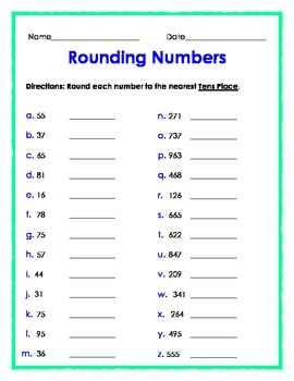 FREE - Rounding Numbers to the Nearest Tens Place - 1 page
