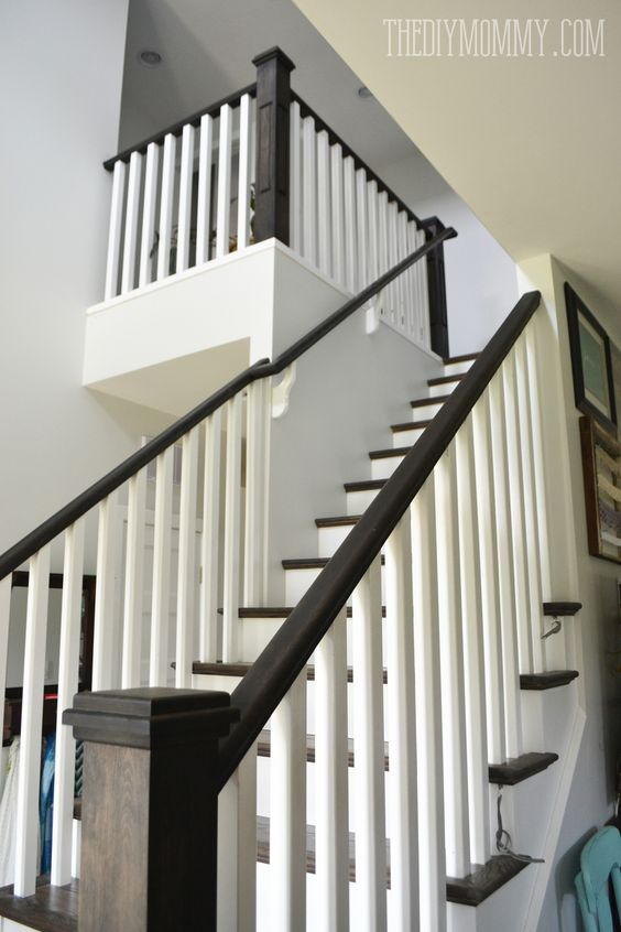 Ebony Stain And White Craftsman Stair Railings I Love