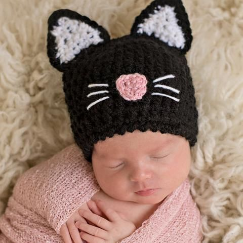 Bat Baby New Born Beenie Hat Black