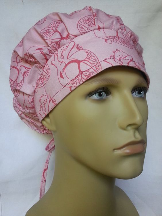 HEART surgical scrub hat theatre cap CARDIAC anatomic banded bouffant