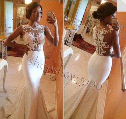 White-Ivory-Wedding-Dress-Mermaid-Bridal-Gown-Lace-Custom-Size-4-6-8-10-12-14-16