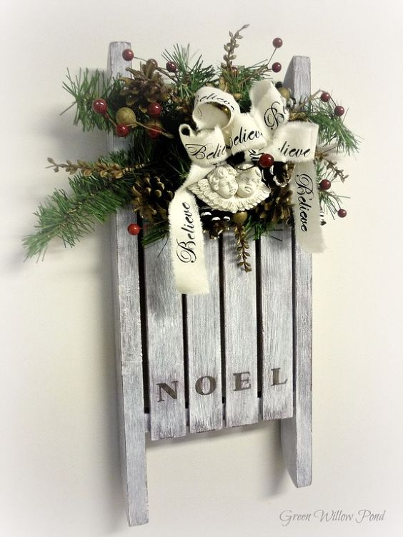 Christmas Wall Decoration Pinterest : Christmas sled and wall decor on