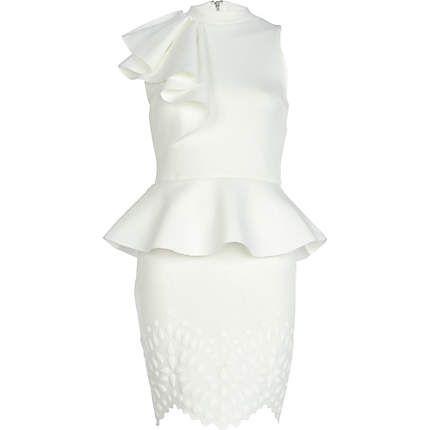 White asymmetric frill peplum dress 65,00 €