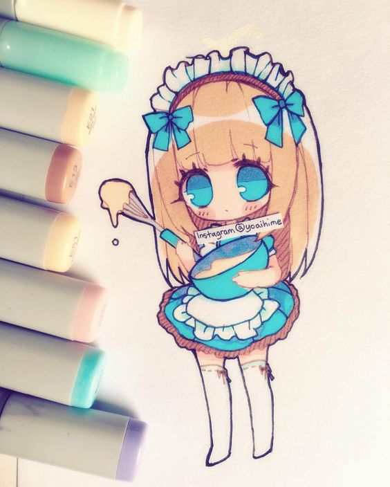 Cute chibi copic drawing 3 this is really cute i wish for Disegni con copic