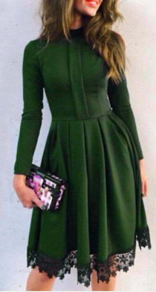 forest green lace hem dress: