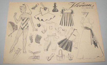 Danish paper doll Vivian 1950