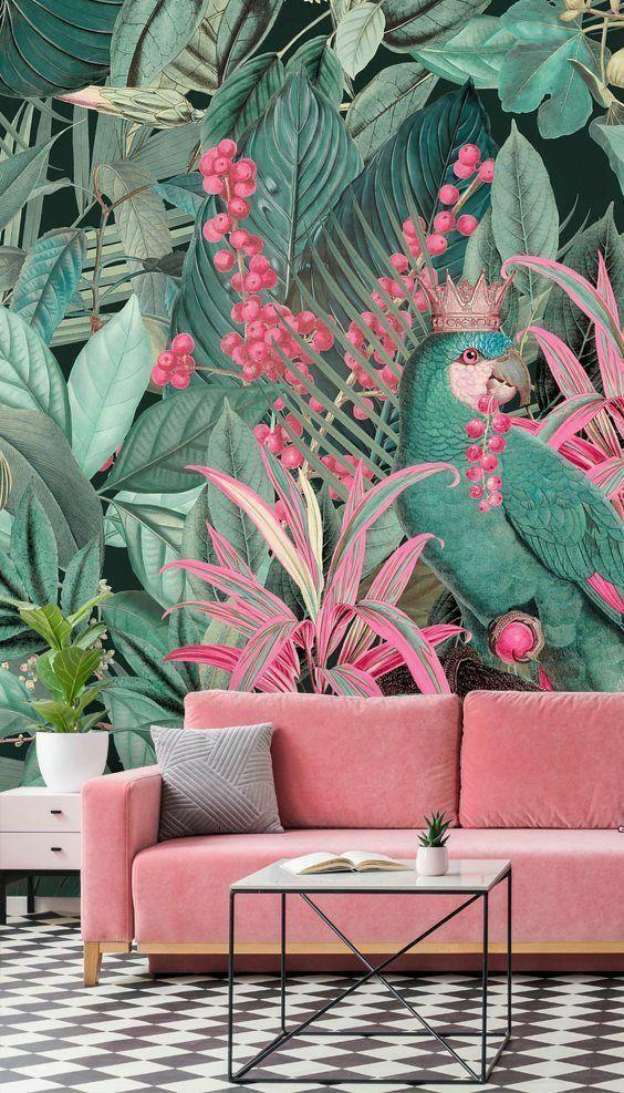 Wallpaper Inspirations Arredamento Tropicale Soggiorno Boho Carta Da Parati Rosa