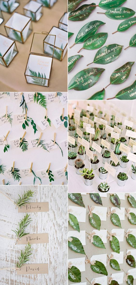 botanical themed greenery wedding escort cards: