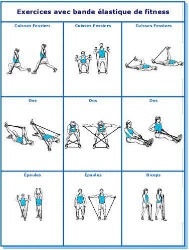 Super Tableau des 9 exercices avec elastique de fitness   Keep fit  WK63