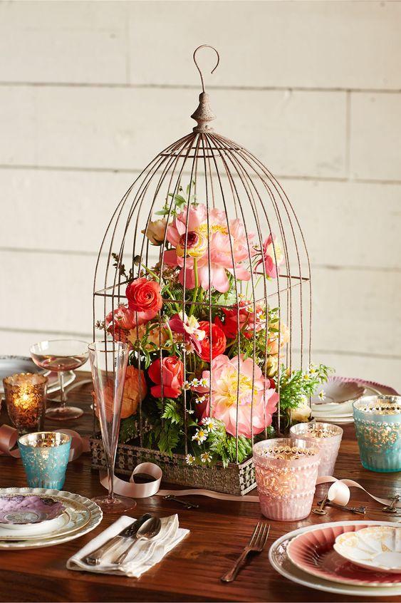 Birdcage centerpiece boho botanical bridal shower