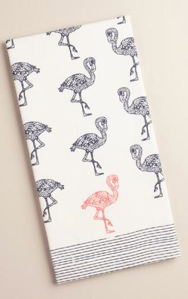 navy and pink flamingo print dish towel