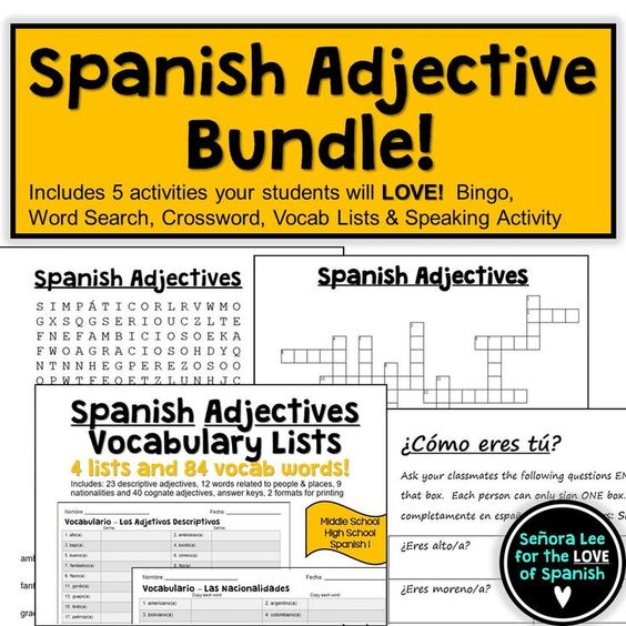 Students will LOVE this bundle of 5 Spanish adjective activities! Includes a Spanish Adjective word search, crossword puzzle, vocabulary lists, bingo and a speaking activity. Great for reinforcing vocabulary throughout the lesson, test review or substitut