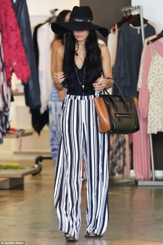 buy celine luggage - Vanessa Hudgens wearing Ella Moss Annika Crepe Striped Pants, Ban ...