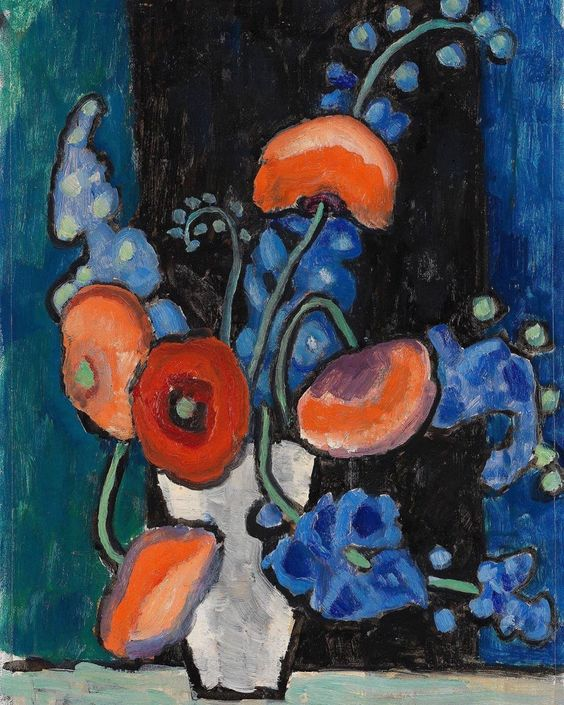"Art Infinitus on Instagram: ""Gabriele Münter - Flowers on a Blue-Black Background, c.1935-40 Gabriele Münter (Berlin, 19 February 1877 – 19 May 1962) was a German…"""