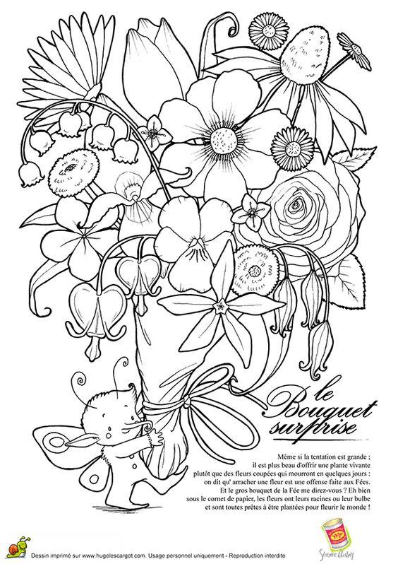 une petite f e avec un norme bouquet de fleurs dans les mains colorier et offrir. Black Bedroom Furniture Sets. Home Design Ideas
