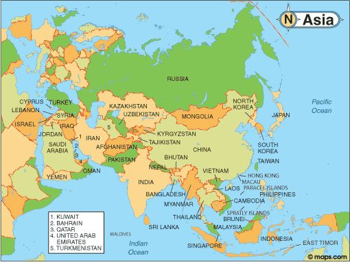 free printable map of asia with countries northwest