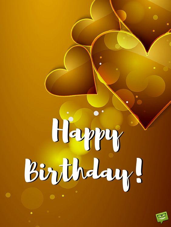 Happy Birthday! Gold hearts.