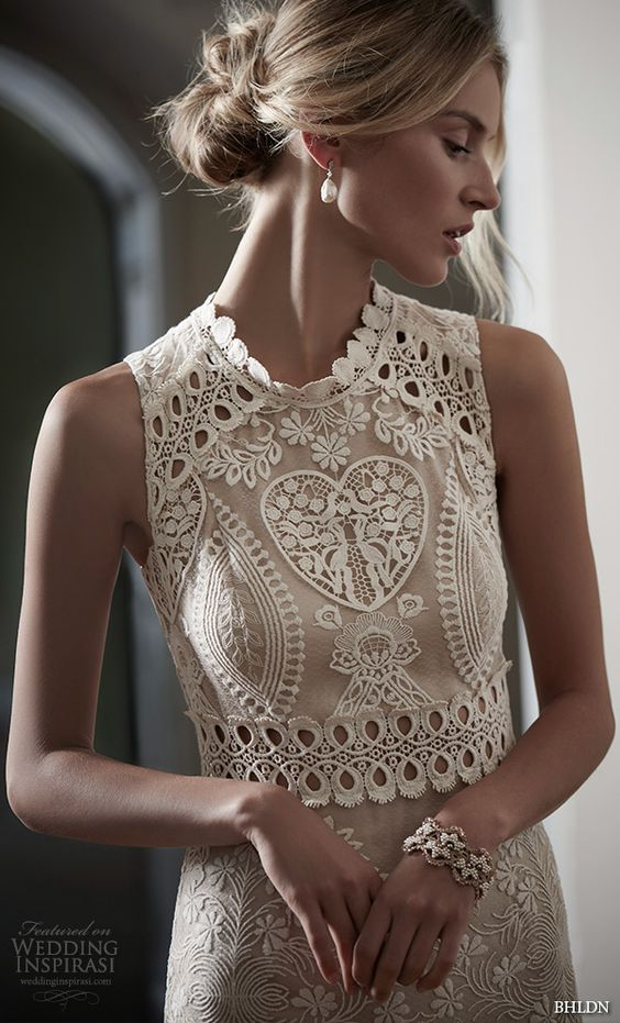 Spring 2016 bridal collection and lace embroidery on for Jewel neckline wedding dress