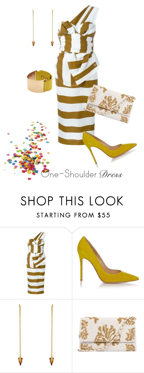 """Stripe up the band"" by naomi-mann ❤ liked on Polyvore featuring N°21, Gianvito Rossi, Jules Smith and Furla"
