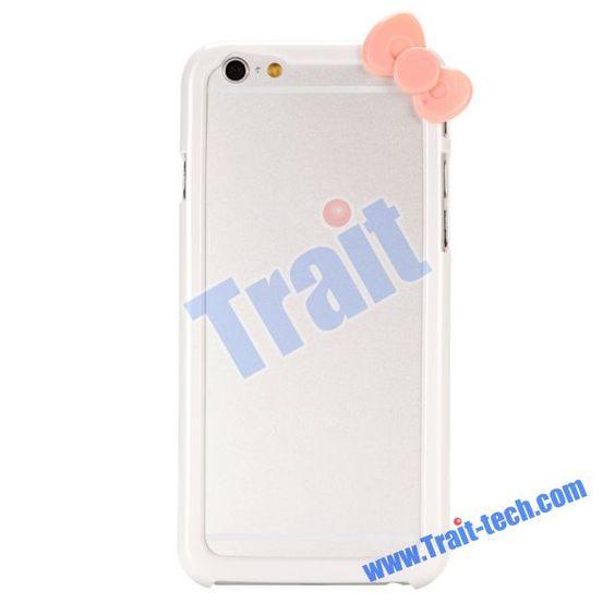 Cute Bowknot Design Bumper Frame PC Hard Case for iPhone 6 4.7 inch(White)