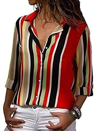 Occasionnel Chemisier Femme LMMVP Femme Automne Plier Mousseline Occasionnelle L/âche Manche Longue Pullover Chemisier L, vin rouge