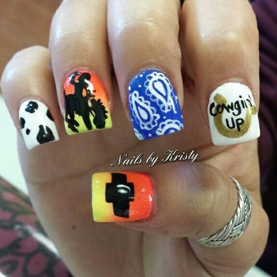 Rodeo nail art nails