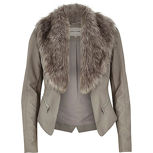 Grey leather-look faux fur biker jacket - coats / jackets - sale